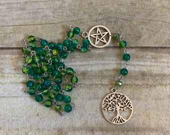 Blue and green crackle tree of life rosary, pagan rosary, pagan prayer beads, wiccan rosary, occult rosary, wiccan prayer beads