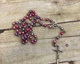 Pink and Purple Heart rosary, catholic rosary, religious jewelry, unique rosary, glass faux pearl rosary, handmade rosary, baptism gift