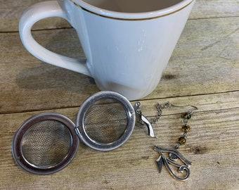 Green and orange eye of ra tea diffuser, eye of Horus tea diffuser, pagan tea diffuser, wiccan tea diffuse, occult tea diffuser, witch tea
