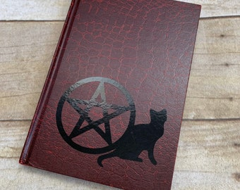 Red and black cat pentacle journal, witch journal, pagan journal, pagan notebook, occult notebook, pentacle notebook, wiccan notebook