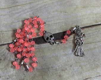 Flourescent pink santa muerte rosary, santisima muerte rosary, holy death rosary, sacred death, nuestra senora de la santa muerte,