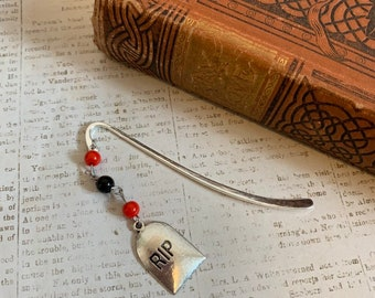 Red and black tombstone bookmark, graveyard bookmark, grave marker bookmark, headstone bookmark, halloween bookmark, horror bookmark