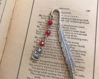 Red owl feather bookmark, familiar bookmark, bird bookmark, beaded bookmark, metal bookmark, owl gift