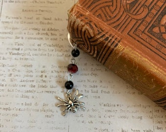 Red and black spider bookmark, halloween bookmark, horror bookmark, gothic bookmark, arachnid bookmark, goth bookmark