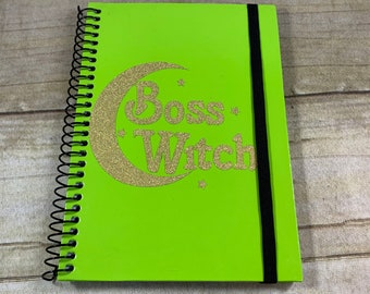 Green and gold glitter boss witch journal, pagan journal, wiccan journal, witch journal, occult journal, book of shadows, witch notebook