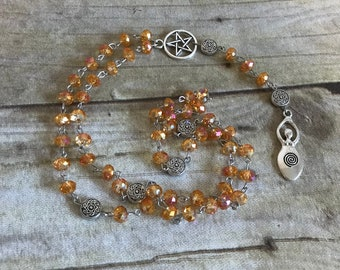 Orange and pink sparkle spiral goddess rosary, pagan rosary, pagan prayer beads, wiccan jewelry, wiccan necklace, goddess jewelry