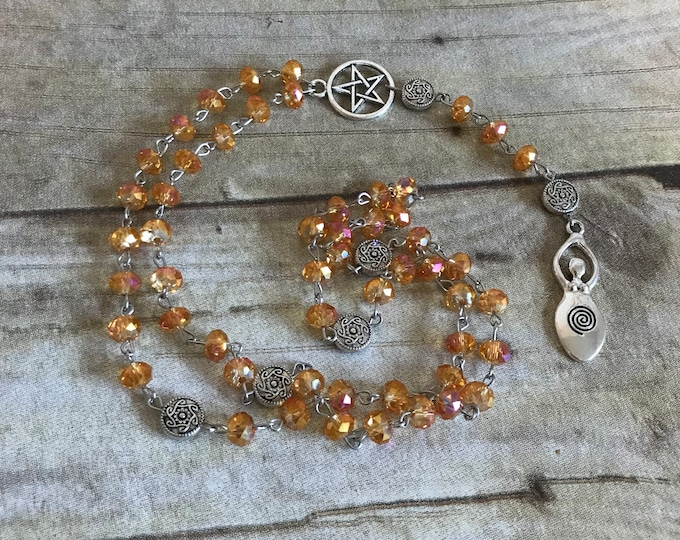 Featured listing image: Orange and pink sparkle spiral goddess rosary, pagan rosary, pagan prayer beads, wiccan jewelry, wiccan necklace, goddess jewelry