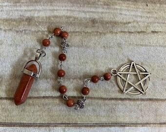 Large pentacle goldstone pendulum, wiccan pendulum, occult pendulum, fortune telling tool, pagan pendulum, crystal pendulum
