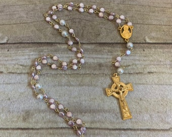 Light pink and gold catholic rosary, glass rosary, faux pearl rosary, baptism gift, first communion gift, religious jewelry