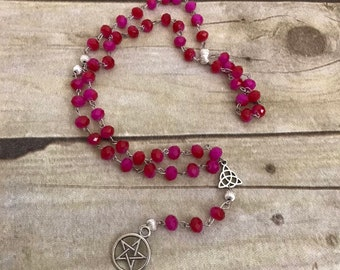 Pink and red pentacle rosary, pagan rosary, pentacle prayer beads, pagan prayer beads, occult rosary, wiccan prayer beads