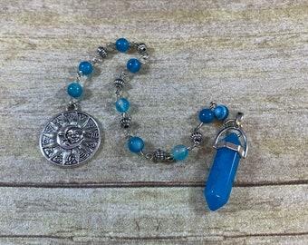 Blue dyed agate and banded agate pendulum, zodiac pendulum, horoscope pendulum, pagan pendulum, occult pendulum, wiccan pendulum