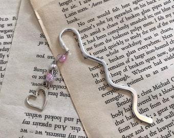 Pink crackle heart bookmark, love bookmark, valentines bookmark, romance bookmark, wedding gift, anniversary gift