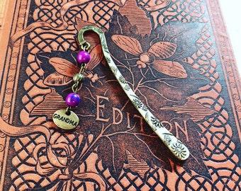 Grandma beaded bookmark, granny bookmark, grandmother gift, metal bookmark, flower bookmark, purple bookmark