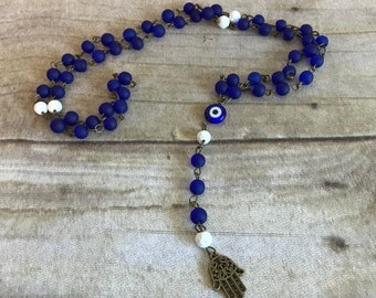 Blue and white hamsa rosary, protection amulet, nazar jewelry, evil eye, pagan prayer beads, wiccan rosary, wiccan jewelry