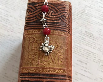 Red and silver crab bookmark, crab gift, nautical bookmark, crabbing gift, aquatic bookmark, ocean bookmark, metal bookmark