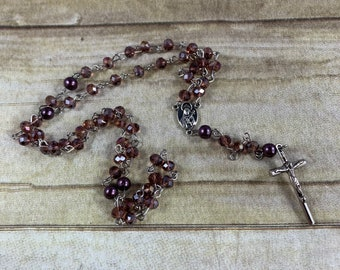 Purple sparkle glass rosary, spring rosary, handmade rosary, unique rosary, baptism gift, first communion gift, confirmation gift