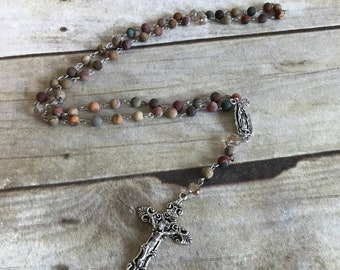 Matte picasso jasper rosary, handmade rosary, prayer beads, religious gift, unique rosary, baptism gift, confirmation gift