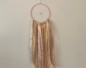 Pink gold and ivory dreamcatcher, chevron dreamcatcher, metallic dreamcatcher, ribbon dreamcatcher, alternative dreamcatcher
