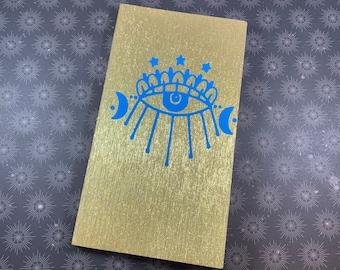 Gold and blue evil eye shimmer journal, nazar journal, witch journal, wiccan journal, occult journal, pagan journal, witchcraft journal