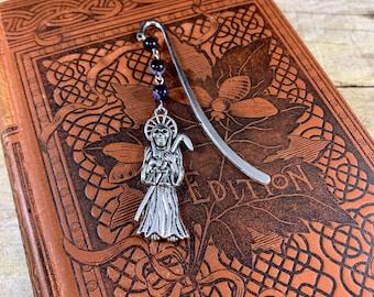 Purple agate santa muerte bookmark, nuestra senora de la Santa Muerte, santisima muerte, holy death bookmark, saintly death bookmark, sacred