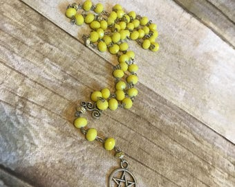 Bright yellow pagan pentacle rosary, pagan rosary, pagan prayer beads, wiccan rosary, occult necklace, wiccan prayer beads