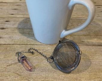Pink glass crystal tea diffuser, crystal tea infuser, crystal tea strainer, unique tea diffuser, glass tea infuser, mesh ball tea strainer,