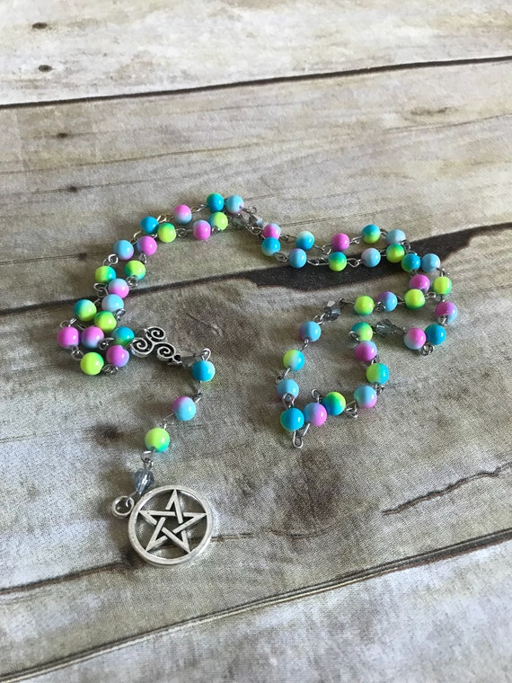pentacle rosary occult jewelry Green splatter pagan rosary wiccan necklace pentacle jewelry wiccan rosary pagan prayer beads