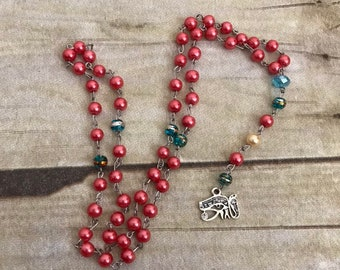 Red blue and gold eye of ra rosary, eye of horus jewelry, pagan prayer beads, egyptian pagan, occult prayer beads, wiccan jewelry
