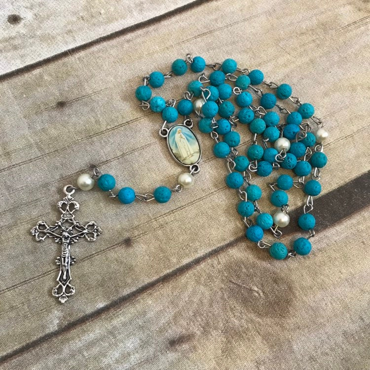 Rosary Diffuser Necklace Beaded Long Handmade With Lava Rock Stones