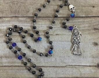 Black and purple santa muerte rosary, santisima muerte rosary, nuestra senora de la santa muerte, holy death rosary, sacred death rosary