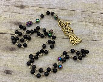 Black cat eye and gold Santa Muerte rosary, nuestra senora de la Santa Muerte, holy death rosary, sacred death rosary, santisima muerte