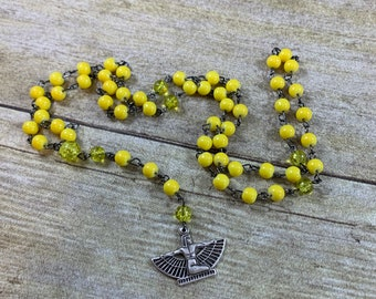 Bright yellow isis prayer beads, isis rosary, pagan prayer beads, pagan rosary, witch rosary, witch prayer beads, wiccan rosary