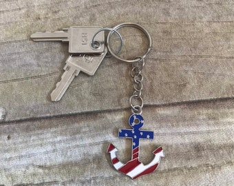 Patriotic anchor keychain, sailor keychain, forth of july keychain, flag keychain, american keychain, nautical keychain