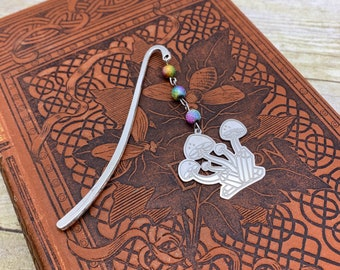 Rainbow mushroom crystal bookmark, nature bookmark, occult bookmark, witch bookmark, pagan bookmark, cottage core bookmark, goblin core book
