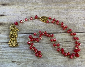 Red and gold sparkly Santa muerte rosary, santisima muerte rosary, nuestra senora de la Santa Muerte, holy death, sacred death, most saintly