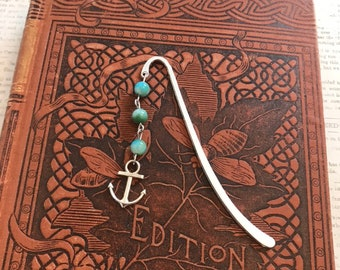 Blue and green mountain jade anchor bookmark, nautical bookmark, cruise bookmark, sailor bookmark, ship bookmark