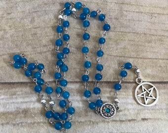 Blue mountain jade pagan prayer beads, pentacle prayer beads, pentacle jewelry, wiccan rosary, occult necklace, pagan jewelry