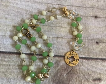 Green and yellow glass hope necklace, hope jewelry, positive jewelry, beaded necklace, hope gift, stocking stuffer
