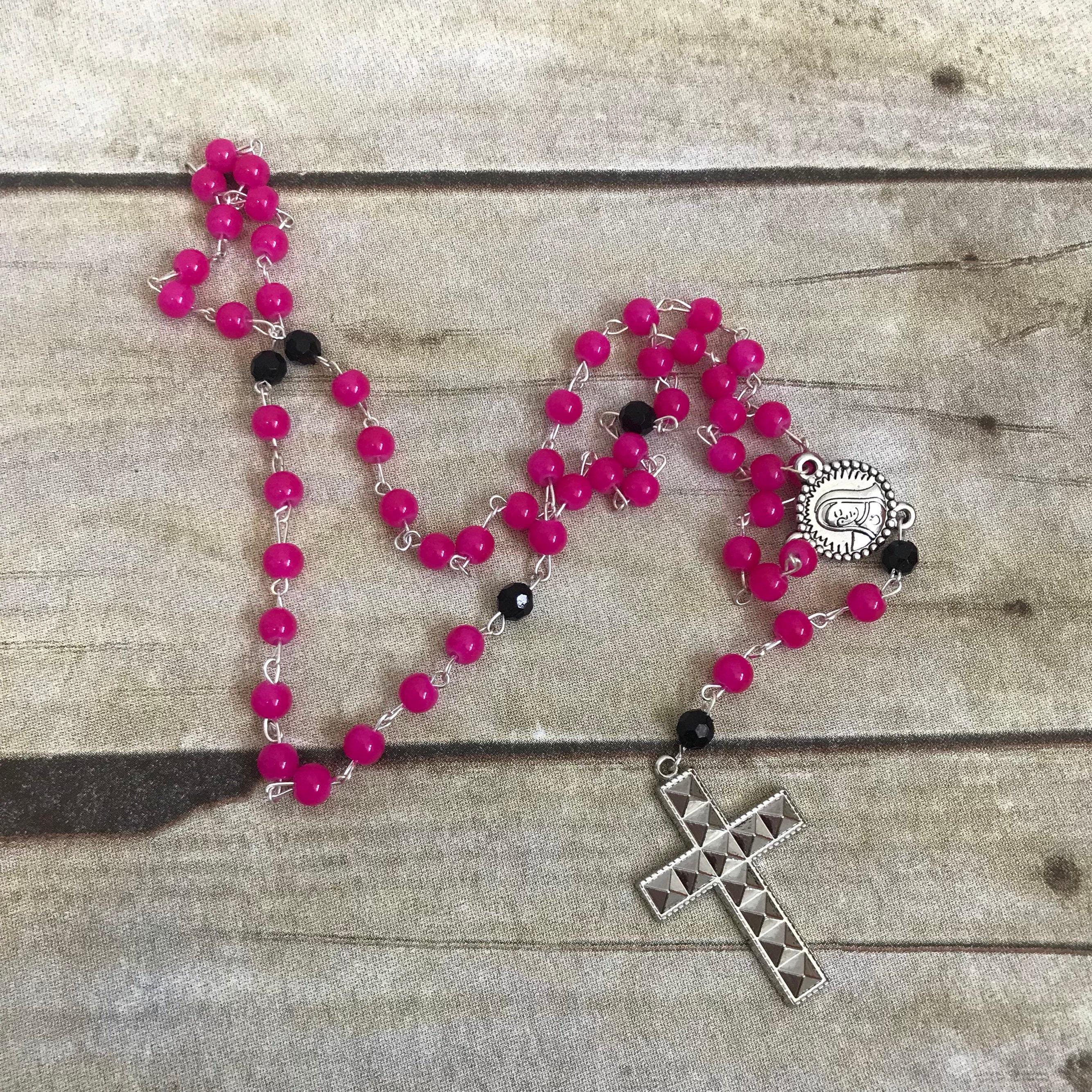 Pink and black studded catholic rosary, punk rosary