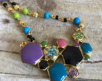 Bright colored geometric necklace, christmas present, birthday gift for her, gold and rainbow