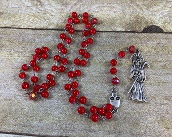 Simple red Santa muerte rosary, santisima muerte rosary, nuestra senora de pa Santa Muerte, holy death rosary, sacred death rosary