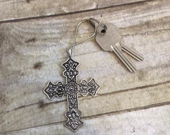 Silver toned floral cross keychain, religious keychain, metal keychain, christian keychain, cross purse charm, cross accessory