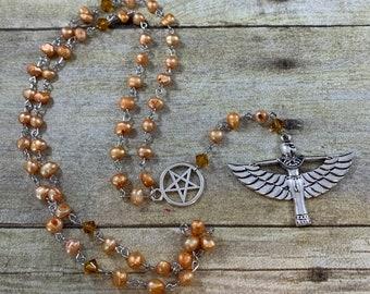 Orange freshwater pearl Isis prayer beads, Isis rosary, pagan prayer beads, pagan rosary, witch prayer beads, wiccan rosary, occult rosary
