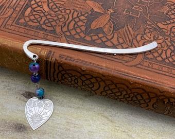 Blue and purple planchette bookmark, occult bookmark, goth bookmark, gothic bookmark, esoteric bookmark, pagan bookmark, wiccan bookmark