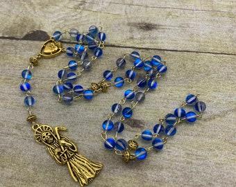 Blue opalescent and gold Santa Muerte rosary, Santisima Muerte rosary, nuestra senora de la Santa Muerte, holy death rosary, sacred death