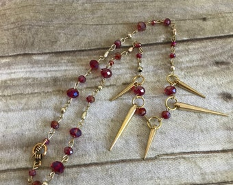 Red and gold spike necklace, spike jewelry, gothic jewelry, punk necklace, statment necklace, one of a kind, handmade, edgy jewelry