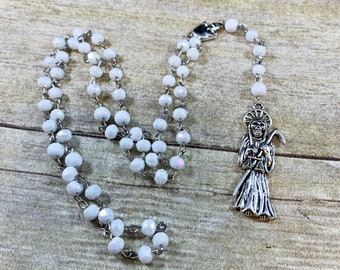 White sparkle Santa muerte rosary, santisima muerte, nuestra senora de la Santa Muerte, holy death rosary, sacred death rosary, saintly