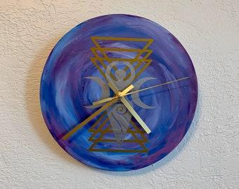 Metallic space goddess geometric clock, spiral goddess clock, pagan clock, wiccan clock, occult clock, witch clock, pagan decor, witch decor