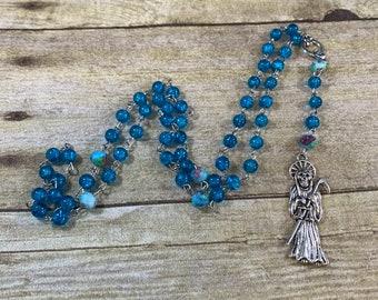 Blue crackle glass Santa Muerte rosary, santisima muerte, nuestra senora de la Santa Muerte, holy death rosary, sacred death rosary