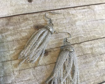 Clear and silver beaded tassel jelly fish earrings
